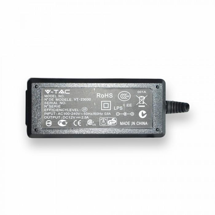 trasformatore alimentatore per strip led 30w ip20 2,5a - v-tac 3007